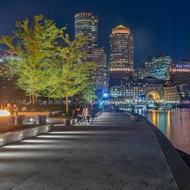 Seaport Park Boston Ma by Carl Albro - City,  Street & Park  City Parks ( nighttime, buildings, harbor, fire, trees, park )