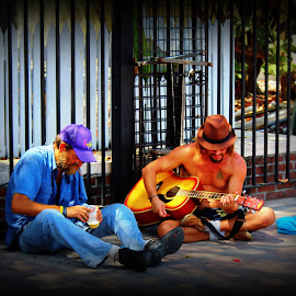 Hard Times  by Pamm Smith - People Musicians & Entertainers ( homeless, playingguitar, streets, hardtimes, keywest florida )