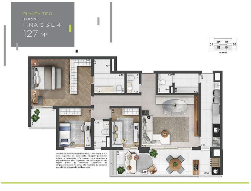 Planta Tipo - 127 m²