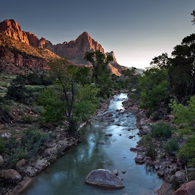 The Watchman by Brens Photo's - Landscapes Mountains & Hills ( sunset, the watchman, light, zion, river )