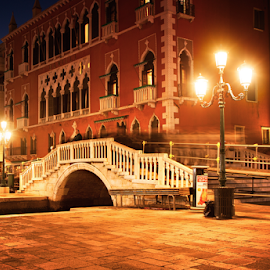 Venice bridge at night by Nermin Smajić - City,  Street & Park  Historic Districts ( street, lamp, venice, hystoric, night, bridge, light )