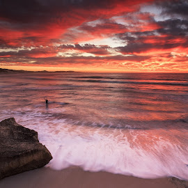 Photobomb  by Lloyd Seeber - Landscapes Beaches ( #nahoon #beach #sky #clouds #sunrise,  )