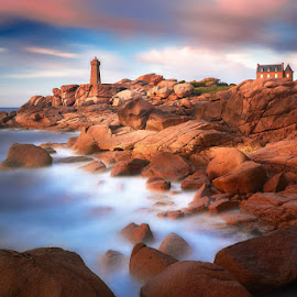 Lights of Brittany by Jens Sieckmann - Landscapes Waterscapes ( clouds, water, sunset, waves, lighthouse, france, long exposure, ocean, brittany, house, rocks, coast )
