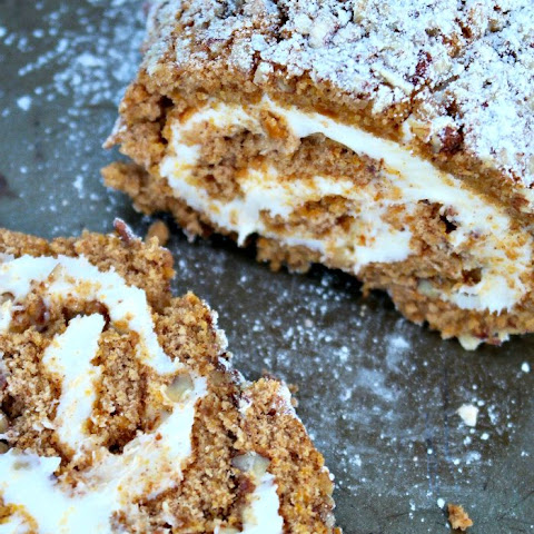 Pumpkin Cake Roll with Pecans