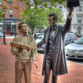 Right This Way My Boy by Michael McMurray - Buildings & Architecture Statues & Monuments ( president, sculpture, tourist, statue, lincoln, abraham, tourism, pennsylvania, travel, gettysburg )