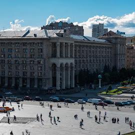 Piazza Maidan - Kiev by Sergio Papandrea - City,  Street & Park  Vistas ( clouds, building, ukraine, kiev, maidan, ucraina, cityscape, panorama, plaza )
