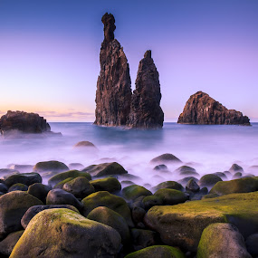 Stack Rock in Ribeira da Janela, Maderia (Portugal) by Zoltan Duray - Landscapes Waterscapes ( water, europe, purple, cliff, big rock, rock, ocean, madeira, island, sky, madeira island, sunset, cloud, night, portugal, , garyfonglandscapes, holiday photo contest, photocontest, long, exposure, daytime, edition, challenge, the mood factory, mood, lighting, sassy, pink, colored, colorful, scenic, artificial, lights, scents, senses, hot pink, confident, fun, mood factory  )