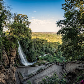 Edessa Waterfall by Ewald Gruescu - Landscapes Forests ( nikon, edessa, greece, fisheye, nature, waterfall, sunset, vacation, river, samyang, water, photography )
