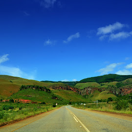 Road to the unknown by Danette de Klerk - Landscapes Travel ( sky, blue sky, green, road, hills, travel )