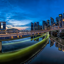 Double Bridge Perspective by Gordon Koh - City,  Street & Park  Skylines (  )