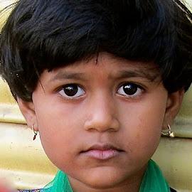 GIRL IN KANYAKUMARI by Doug Hilson - Babies & Children Child Portraits ( little girl, kanyakumuri, shaped hair, india, big dark eyes, portrait )