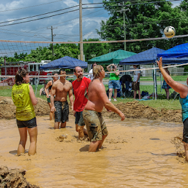 Dirty Work by Myra Brizendine Wilson - Sports & Fitness Other Sports ( teams, mud, volleyball, sports, mud volleyball, people )