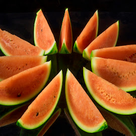 Watermelon Slices by Jim Downey - Food & Drink Fruits & Vegetables ( red, green, slices, watermelon, cuts, shapes )