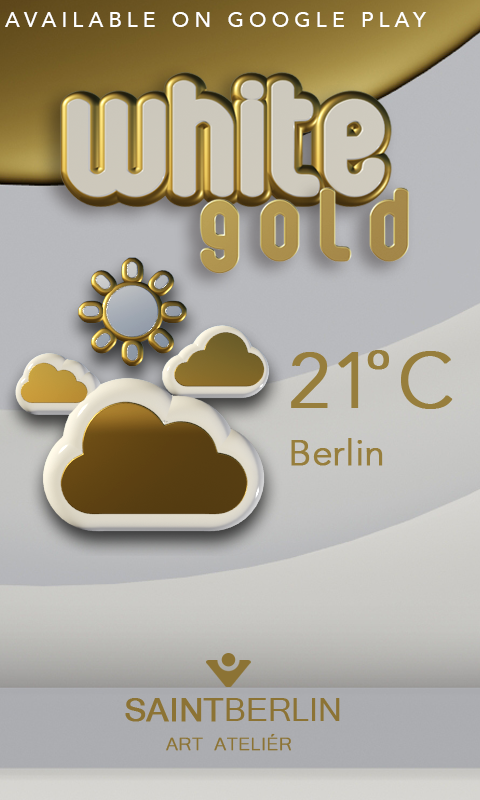 White Gold Clock Widget Screenshot 3