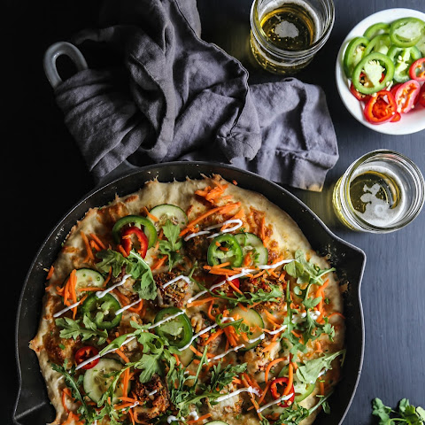 Chicken Meatball Bahn Mi Skillet Pizza
