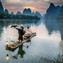Li River Sunrise by David Long - Landscapes Travel ( li river, guilin, china )