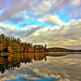 late fall  by David Pratt - Landscapes Cloud Formations ( cloud formations, water, clouds, reflection, color, fall, trees, waterscapes, landscapes )
