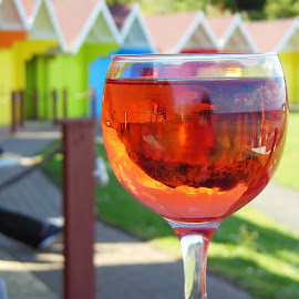 Cheers  by Eloise Rawling - Food & Drink Alcohol & Drinks ( hut, glass of wine, wine glass, beach )