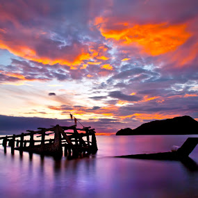 The Wreck by Arthit Somsakul - Landscapes Cloud Formations ( sunset, wreck, sea )