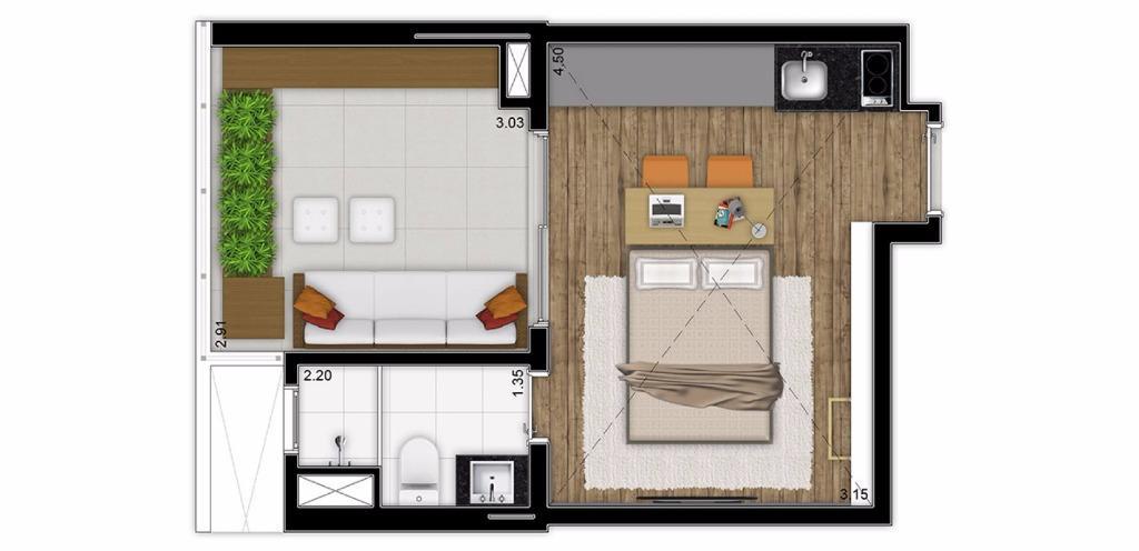 Planta 2 Studio de 31 m²