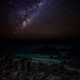 Milkyway and the rocks by Nicole Rix - Digital Art Places ( milkyway, photoshop art, stars, seascape, rocks, nightscape )