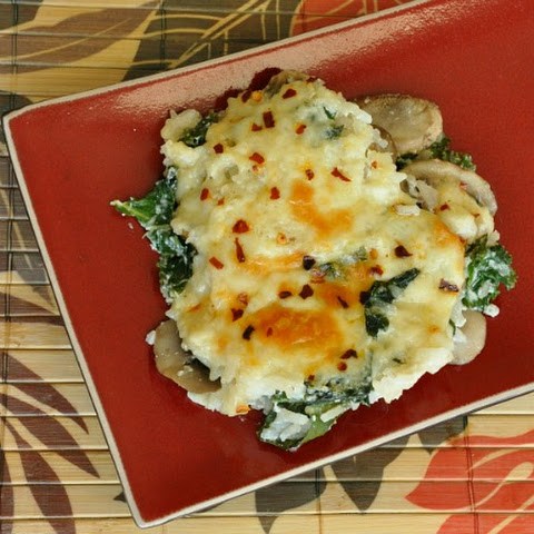 Cheesy Kale, Mushroom, and Rice Casserole