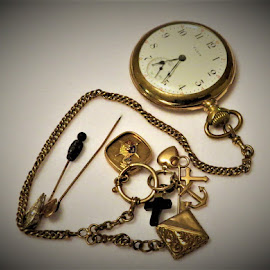 Watch and Fobs. by Hal Gonzales - Artistic Objects Antiques ( old, pocket watch, stick, gold, golden, antiques )