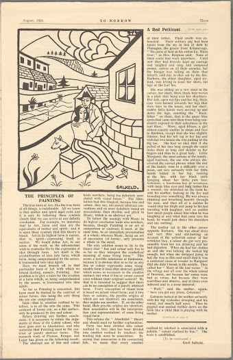 To-morrow was a short-lived literary and artistic magazine that consciously courted controversy. Having recently returned from training in Germany, where he had come into contact with the Neue Sachlichkeit (new objectivity) movement, the artist Cecil Salkeld here takes issue with Cubist artists 'who maintain that Painting must be the contrast of purely abstract forms'.