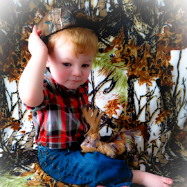 Country Cutie by Jennifer Duffany - Babies & Children Child Portraits ( baby toddler, country cutie boy camo camouflage outside outdoor )