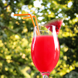 Watermelon juice by Suzana Trifkovic - Food & Drink Alcohol & Drinks ( red, beverage, straw, fresh, drink, juice, glass, healthy, slice, decorated, watermelon )