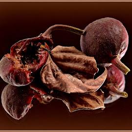 Figs by Prasanta Das - Nature Up Close Gardens & Produce ( still life, dry leaf, figs )