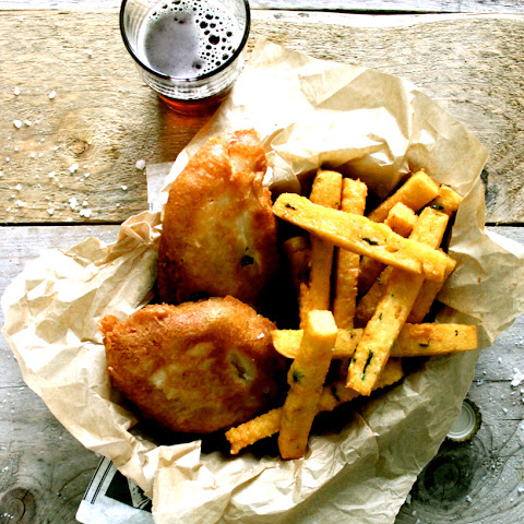 Irish Ale Battered Fish + Chickpea Chips