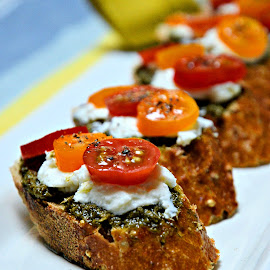Hors d'oeuvres by Heather Aplin - Food & Drink Plated Food ( plated, canapés, bread, pesto, ricotta, tomatoes )