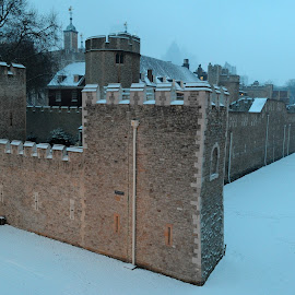 Castle in the Snow by DJ Cockburn - Buildings & Architecture Public & Historical ( masonry, tower of london, uk, tower hamlets, stone, develin tower, cityscape, city, history, urban, england, salt tower, winter, defence, london, moat, snow, castle, historical, mediaeval, wall )