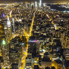 The view from Empire state building. by Martin Hedlund - City,  Street & Park  Neighborhoods ( new york manhattan empire state building night sony dx100 street long )