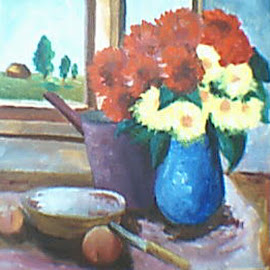 Sunny mornings by Livia Copaceanu - Painting All Painting ( window, sunny, flowers, mornings )
