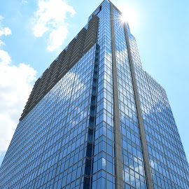 Sky Reflection by Thomas Shaw - Buildings & Architecture Office Buildings & Hotels ( clouds, reflection, building, white, downtown raleigh, windows, gray, raleigh, north carolina, sky, skyscraper, blue, glass, downtown )