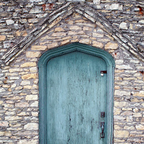 The Blue Door by Alex Heimberger - Buildings & Architecture Architectural Detail ( iowa, blue, door, pwcdetails, stone )