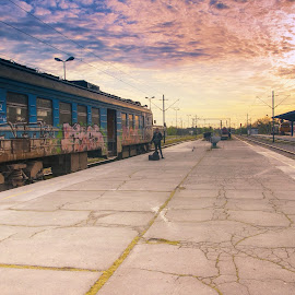 Train station by Maja Tomic - Transportation Trains ( train station, train, morning,  )