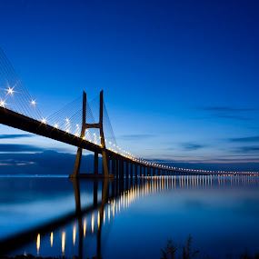 the first light of the day by Emanuel Ribeiro - Landscapes Waterscapes ( water, blue, sunrise, bridge, awake, lisbon )