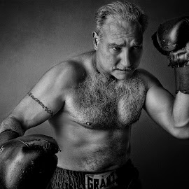 The Master Boxer by Manny Fernandez - Sports & Fitness Boxing ( sports photography, fit, black and white, senior boxing, masters boxing, boxing, photo, photography )