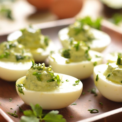 Avocado Herb Deviled Eggs