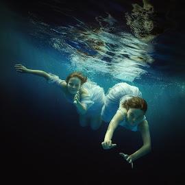 Sea nymphs by Dmitry Laudin - People Fashion ( water, fairy tale, girl, underwater, dress, swim, girlfriends, bubbles, fun, hair )