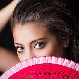 Gaby by Luis Alonso Ramirez - People Fashion ( red, beautiful, abanico, eyes )