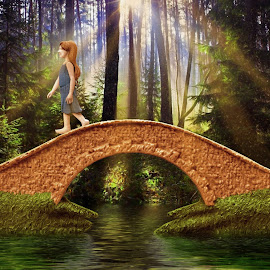 Footbridge in the Forest by Charlie Alolkoy - Illustration People ( child, girl, bootbridge, bridge, rays )