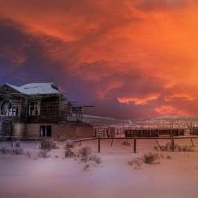Humphrey School House by Eric Demattos - Buildings & Architecture Decaying & Abandoned ( school house, sunset, eric demattos, snow, forgotten, abandoned )