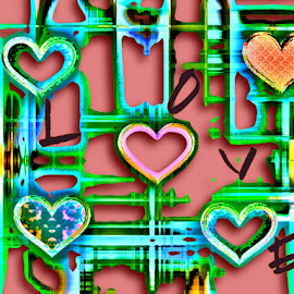 Tattered Love by Nancy Bowen - Illustration Holiday ( cutout areas, hearts, blue, green, dark pink )
