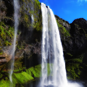 Waterfall 56 by Bill Frische - Landscapes Waterscapes ( water, iceland, pool, green, waterfall )