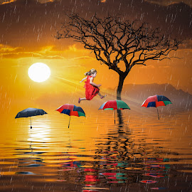 The Brolly Hop by Andy Kerr - Digital Art Abstract ( tree, jumping, umbrella, sea, sunrise, surreal, hop, island )
