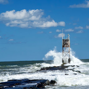 Crashing waves at Indian River Inlet by Joe Fazio - Landscapes Waterscapes ( waves, delaware, beach, atlantic ocean, inlet )